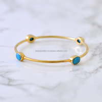 Turquoise gemstone Bangle , 925 Sterling Silver Bangle , Gemstone vermeil Bangle