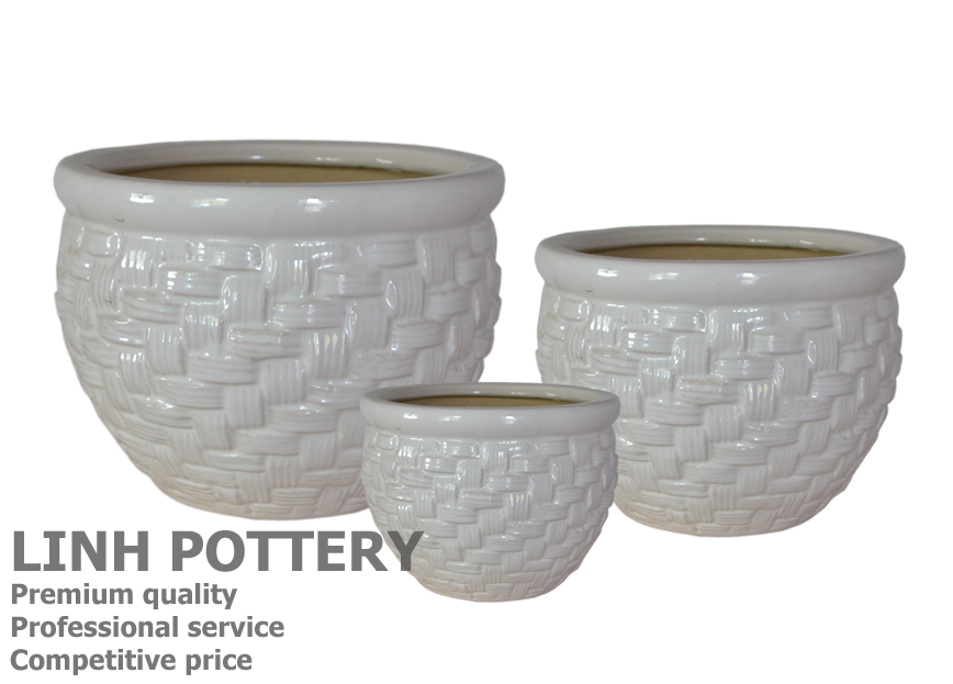 small white ceramic flower pots/planter