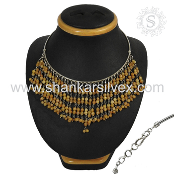 Exaggerated silver necklace handmade yellow onyx gemstone jewelry 925 sterling silver jewellery wholesale supplier