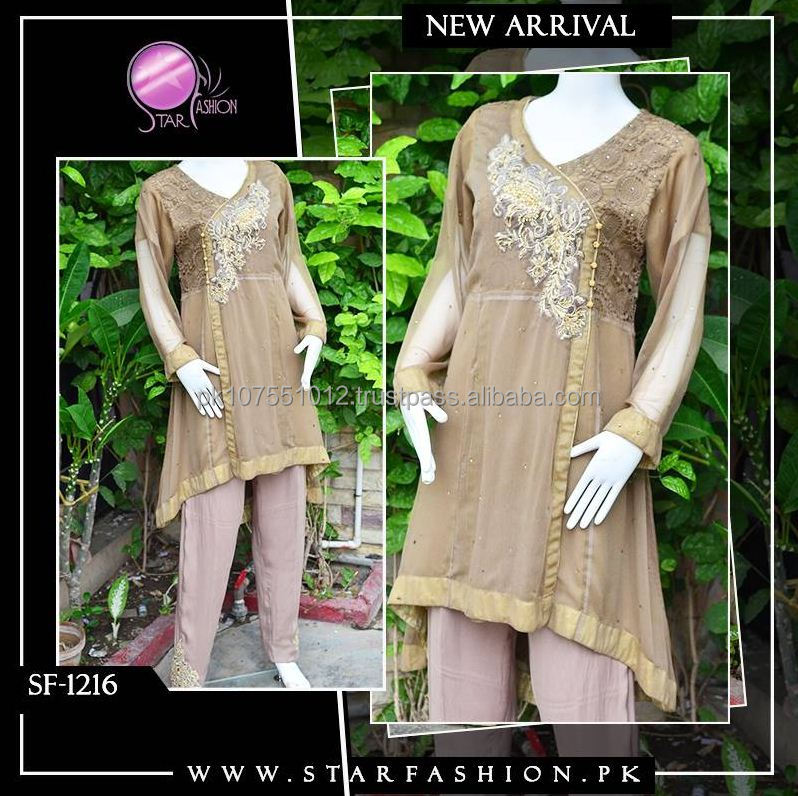 Pakistani traditional Angerkha with western fusion tailed style frock, well embellished&embroidered, trousers with bunch.