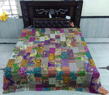 Indian kantha quilt manmade patch work bedspread printed throw kantha quilts for sale bed cover 100% cotton