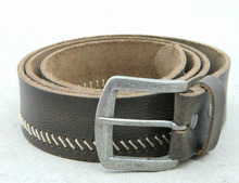 Stitched style genuine leather belt for wholesale at cheap price with custom buckle