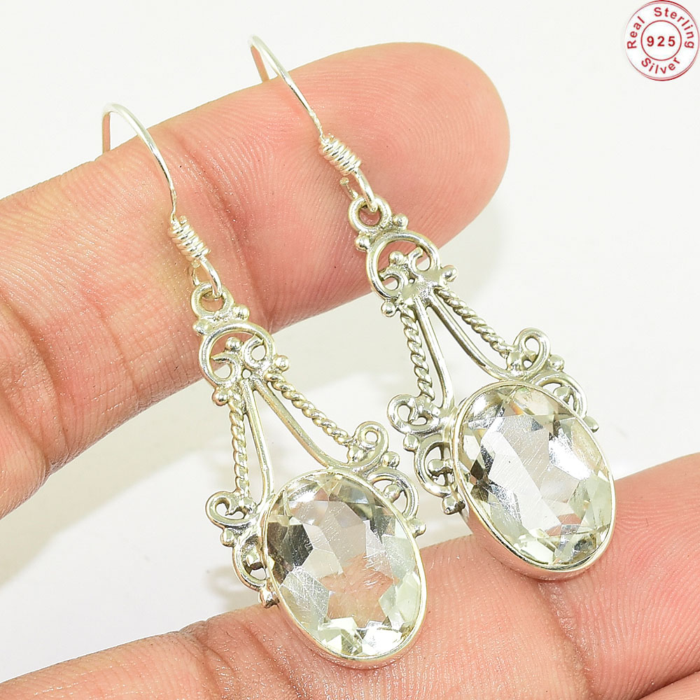 New trendy crystal earrings wholesale gemstone silver jewelry 925 sterling silver earring manufacturers