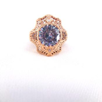 14k Rose Gold  Natual White Zircon Women Engagement Ring Fine Wedding Gemstone Jewelry Round Shape