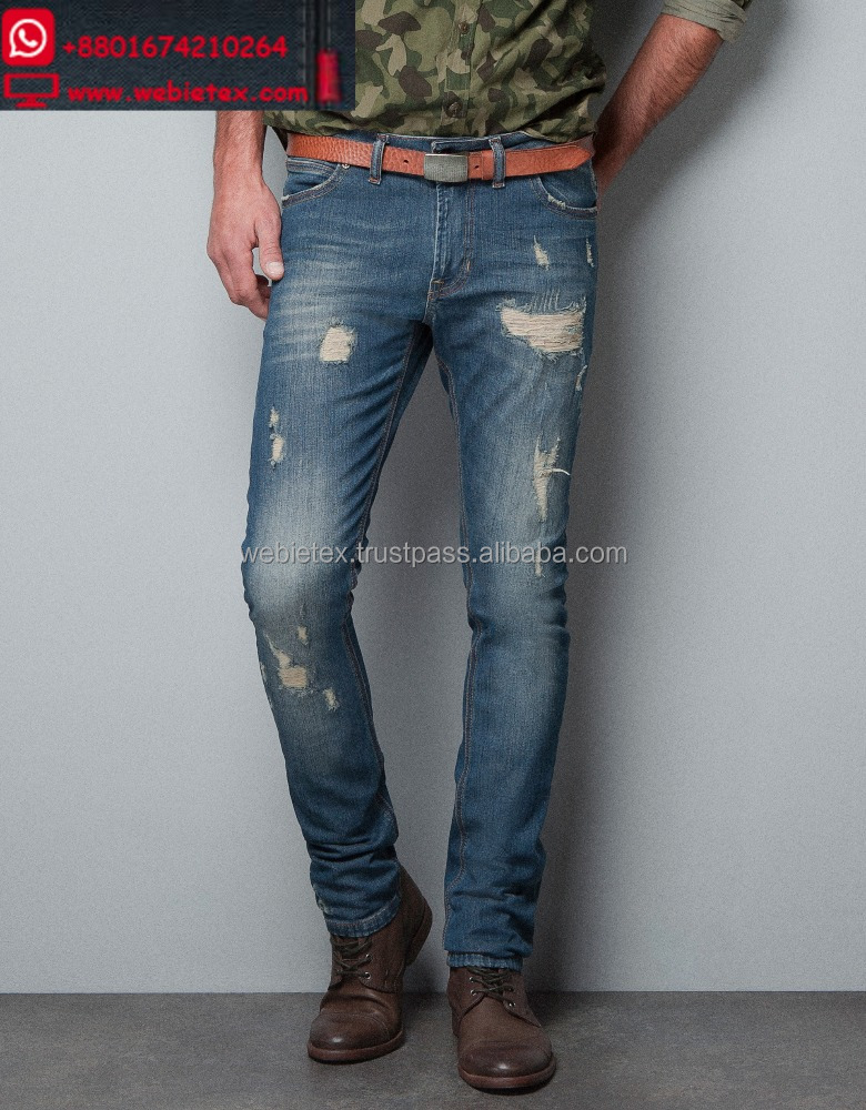 Destroyed Jeans For Men, Washed Denim, Ripped Jeans
