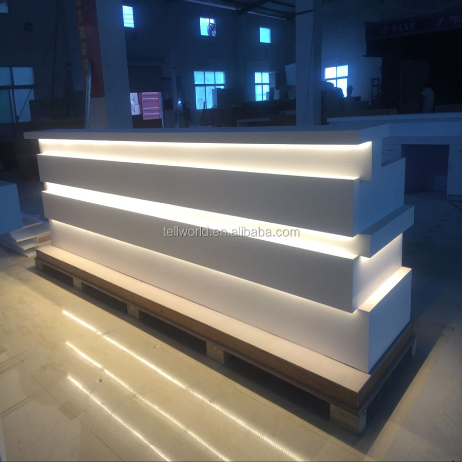 2017 luxury acrylic solid surface white carved reception counter desk