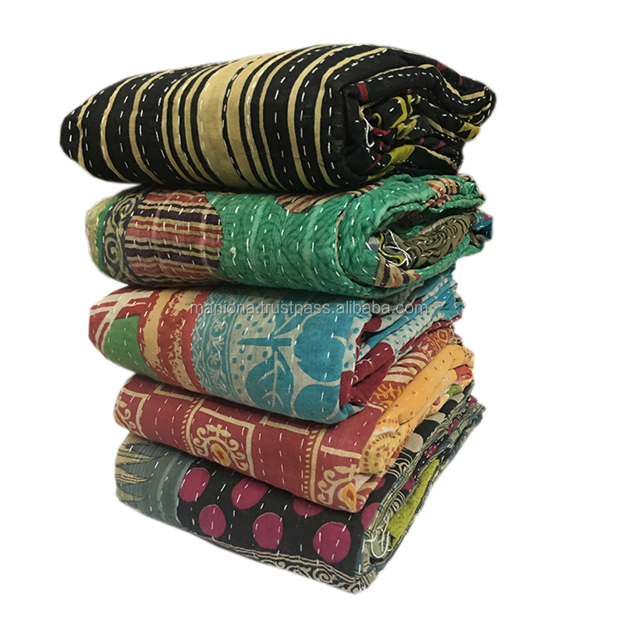 Vintage Kantha Quilts Old Sari Bedspread Throw Twin Size Cotton Heavy Reversible Handmade Blanket Bedspread Kantha Quilts