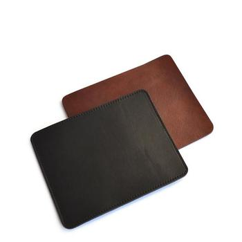 classical black genuine leather mouse pad