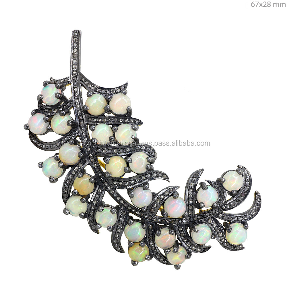 925 Silver Diamond Opal Gemstone Leaf Design Pendant