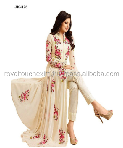 Cream Colour Floral Embroidery Ankle Length Anarkali Style Semi-Stitched Dress Latest Indian Ethnic Wear
