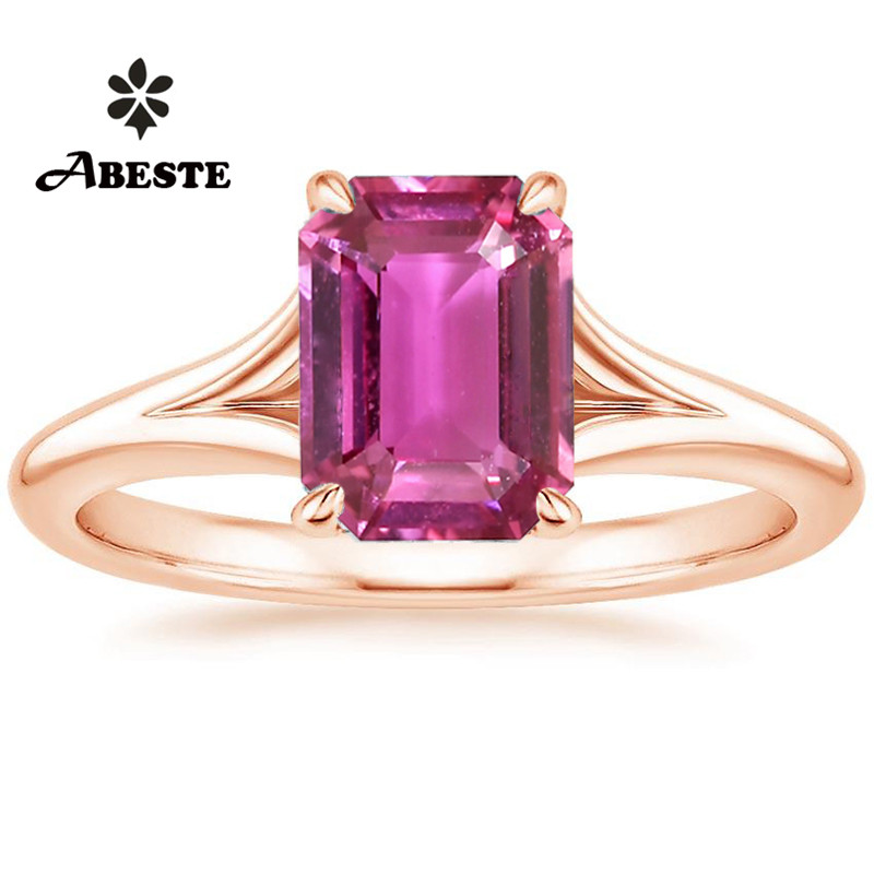 18K White Gold (AU750) Women Wedding Ring Pink Sapphire 1.44 Carat Excellent Cut Natural Diamond Jewelry for Female Engagement