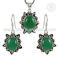 Gleaming green onyx jewelry set handmade 925 sterling silver gemstone jewellery exporters