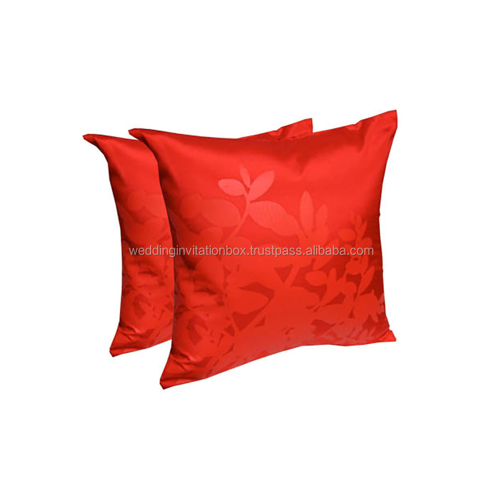 Prestige Creation's 16*16 Inches Modern Red Silk Screen Cushion Cover