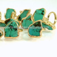 Rough Stone Turquoise Raw Stacking Gold Adjustable Wide Band Statement Ring