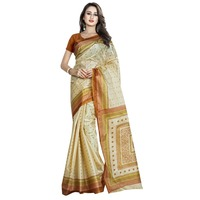 Fanciful Beige Colored Printed Art Silk Casual Wear Saree Without Blouse