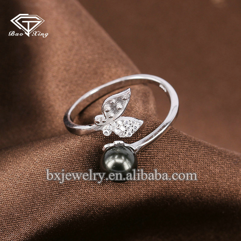New arrival product wholesale products cultured pearl handmade butterfly ring
