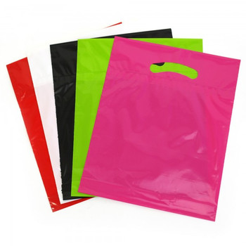 Cheap Printed Die-cut Punch out handle Plastic Bag for Packaging