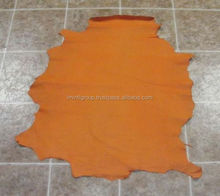 Hide Of Orange Textured Reptile Print Sheep Skin Leather IM.3293