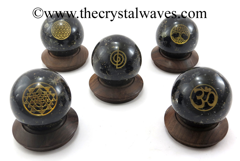 Black Tourmaline Chips Orgone Ball Sphere With Mix Assorted Symbol