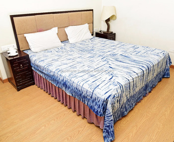 Indian Latest Hamsa Fatima Hand Tie Dye Shibori Printed Bed Cover Bedding Bedspread Bed Sheet