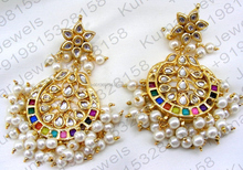 Long Kundan Handmade Fashion Elegant Indian Ethnic Style Gold Plated Wedding Party Wear Earrings