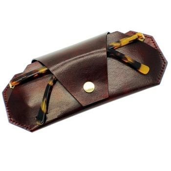 Leather Eyeglass Cover Bag Brown