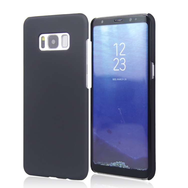 low price simple black rubber pc hard cover for samsung galaxy s8