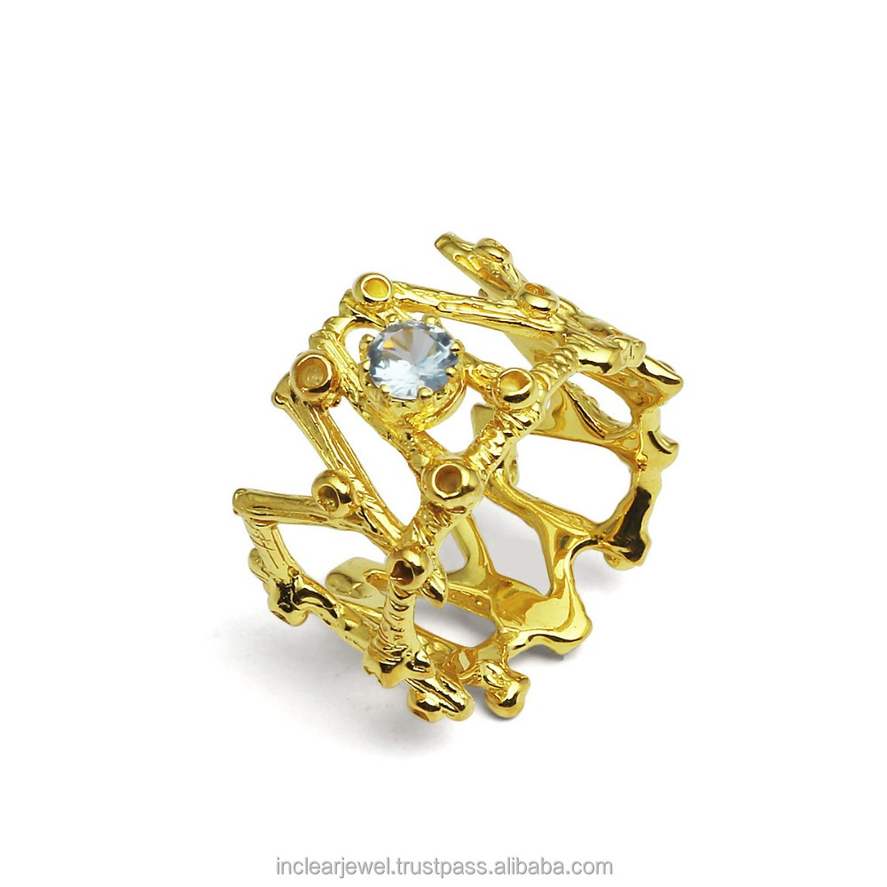 Gold Tone Fine Art 925 Silver and Blue Topaz CZ Ring RS0290