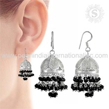 Glowing black onyx silver jhumkas jewelry 925 sterling silver earrings jewellery indian silver jewelry exporters