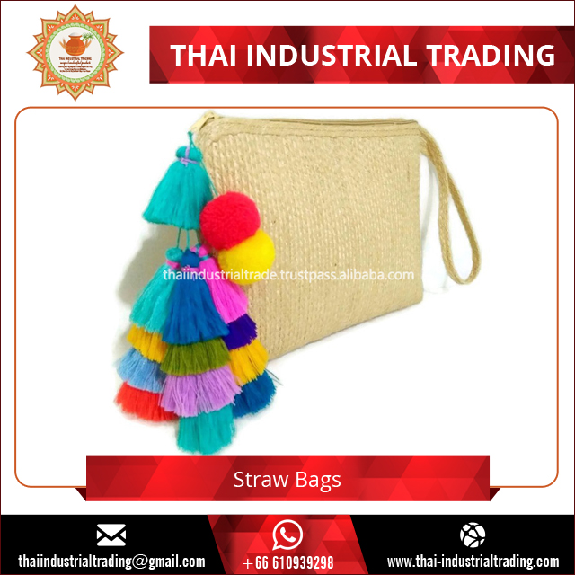 2017 Summer Edition Natural Straw Clutch Bags, Straw Bag Pompom Original Handmade Product from Thailand