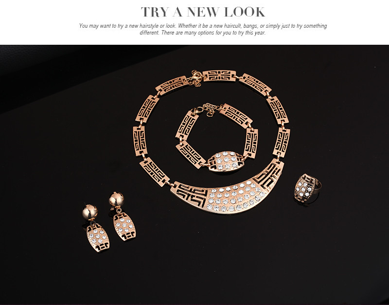Dubai Africa jewelry The dance Austrian crystals four-piece upscale necklace earring bracelet ring Gold Color women jewelry