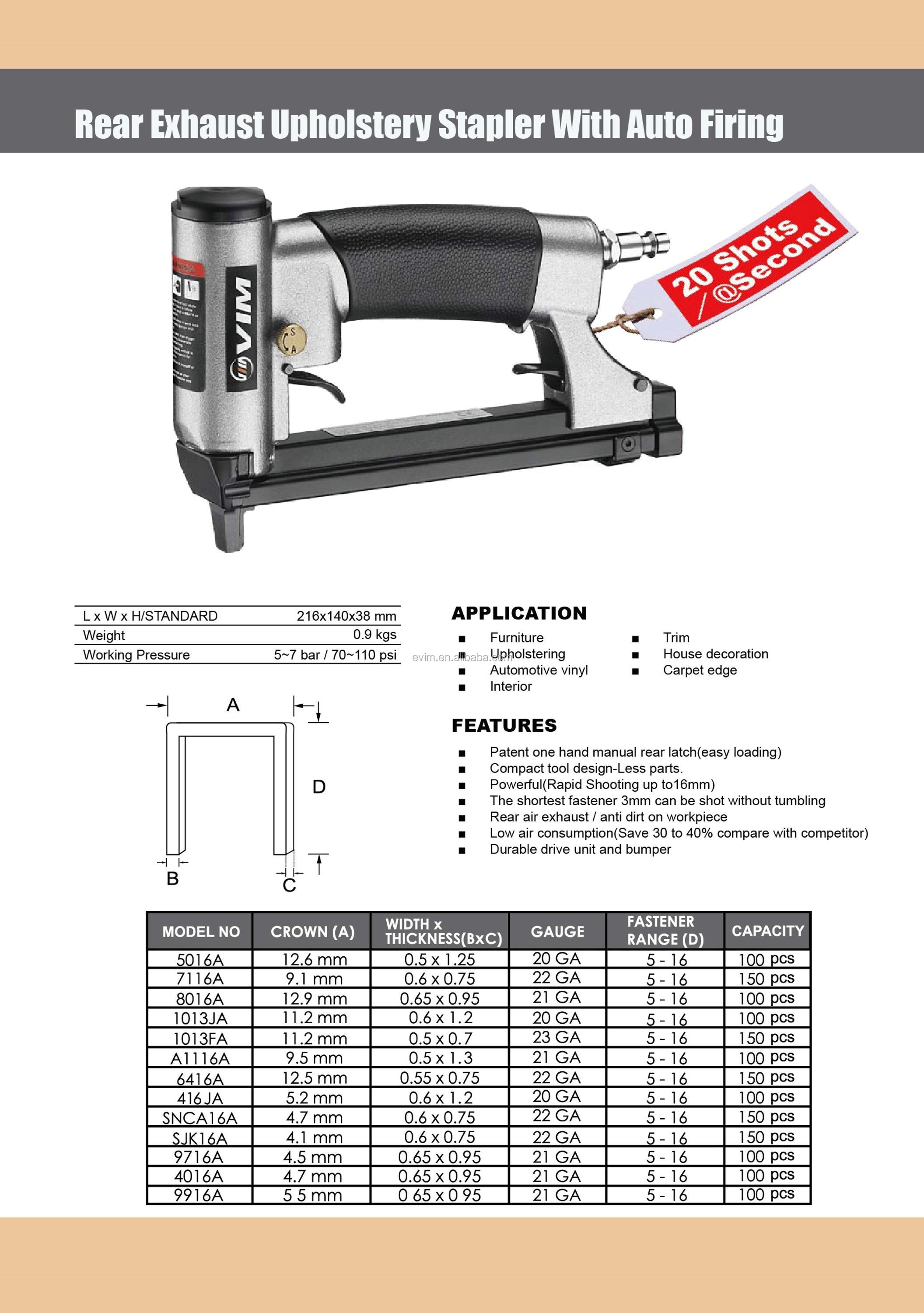 5016A 20 Gauge Rear Exhaust Upholstery Stapler with Auto Firing