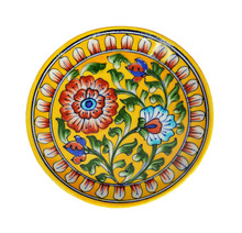 Ceramic Plates Handmade Serving Wall Hanging Exquisite Colors Decorative Round Floral Wall Plate Yellow