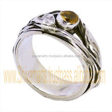 Hot selling cheap jewelry silver 925 sterling silver citrine gemstone ring