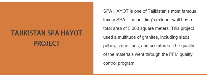 Tajik SPA Exterior Buildings Stone Facade Dry-Hand  Tan Brown Granite Exterior Wall Cladding Project