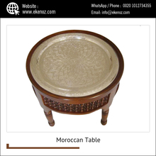 Moroccan Silver Plated Brass Tray Tea Coffee Table