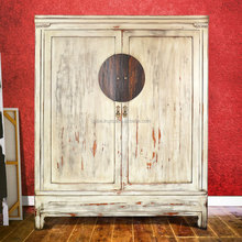 Cabinet Wardrobe Oriental 2 Doors White Antique Mahogany Wood Furniture, Wooden Furniture Japan Style