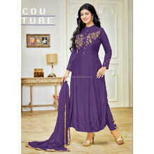 Online Shopping Surat PURPLE Colour Embroidery Unstitched Salwar kameez