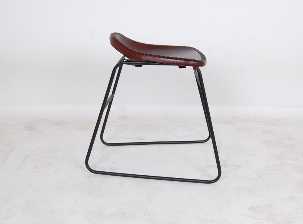 INDUSTRIAL IRON LEATHER STOOL