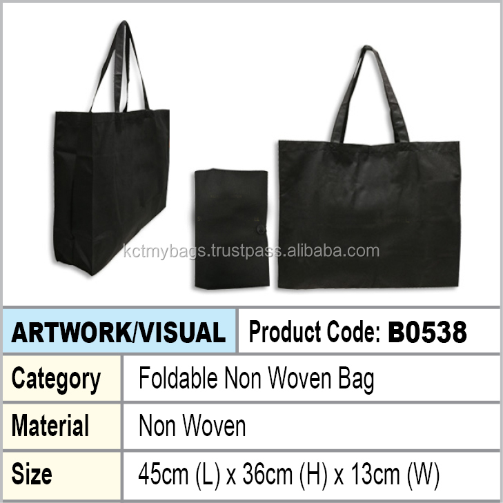 Black Foldable Non Woven Shopping Tote Bag