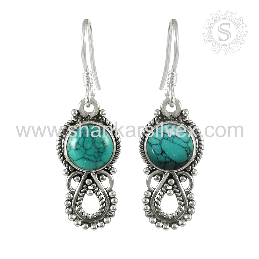 Woman Antique jewelry turquoise gemstone earring 925 sterling silver jewellery handmade silver earrings supplier