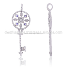 925 sterling silver with Iolite and white topaz designer key chain pendants