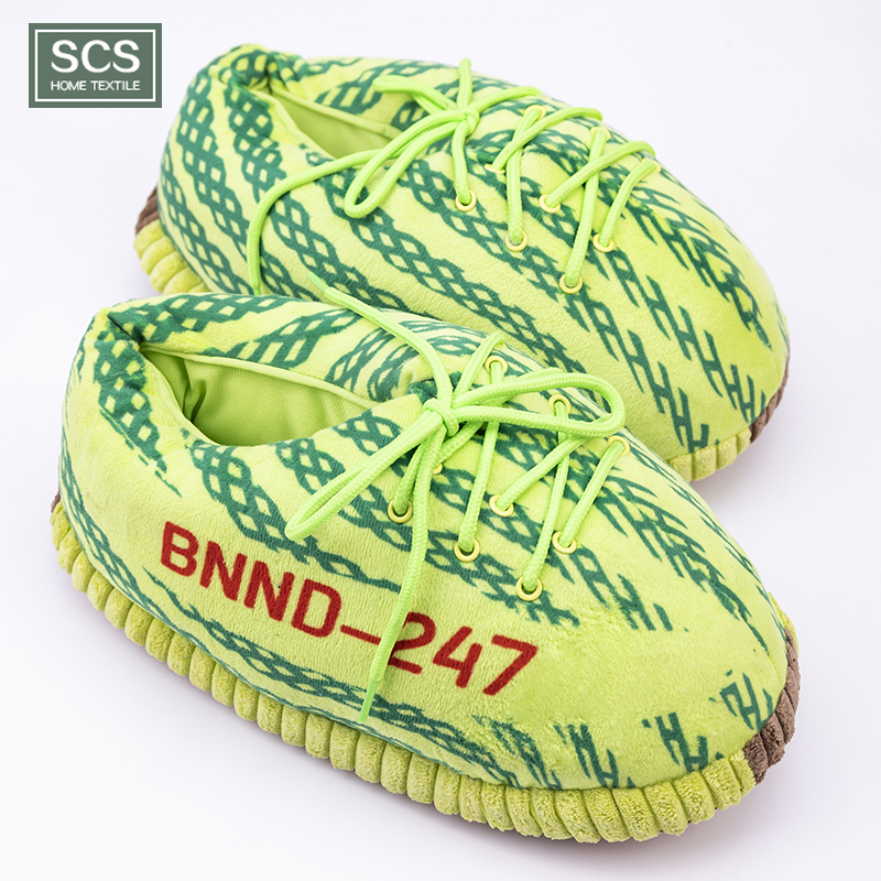 Custom high quality soft adult size plush yeezy <strong>slippers</strong> sneakers