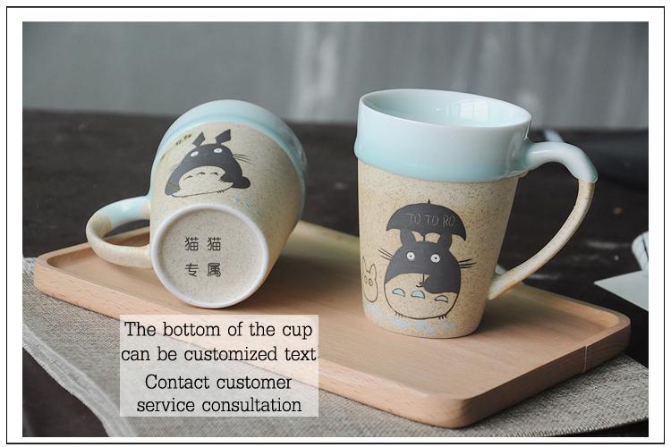 Creative totoro cartoon shape ceramic with lid handle wholesale hot selling unique gift ideas tea or coffee mug