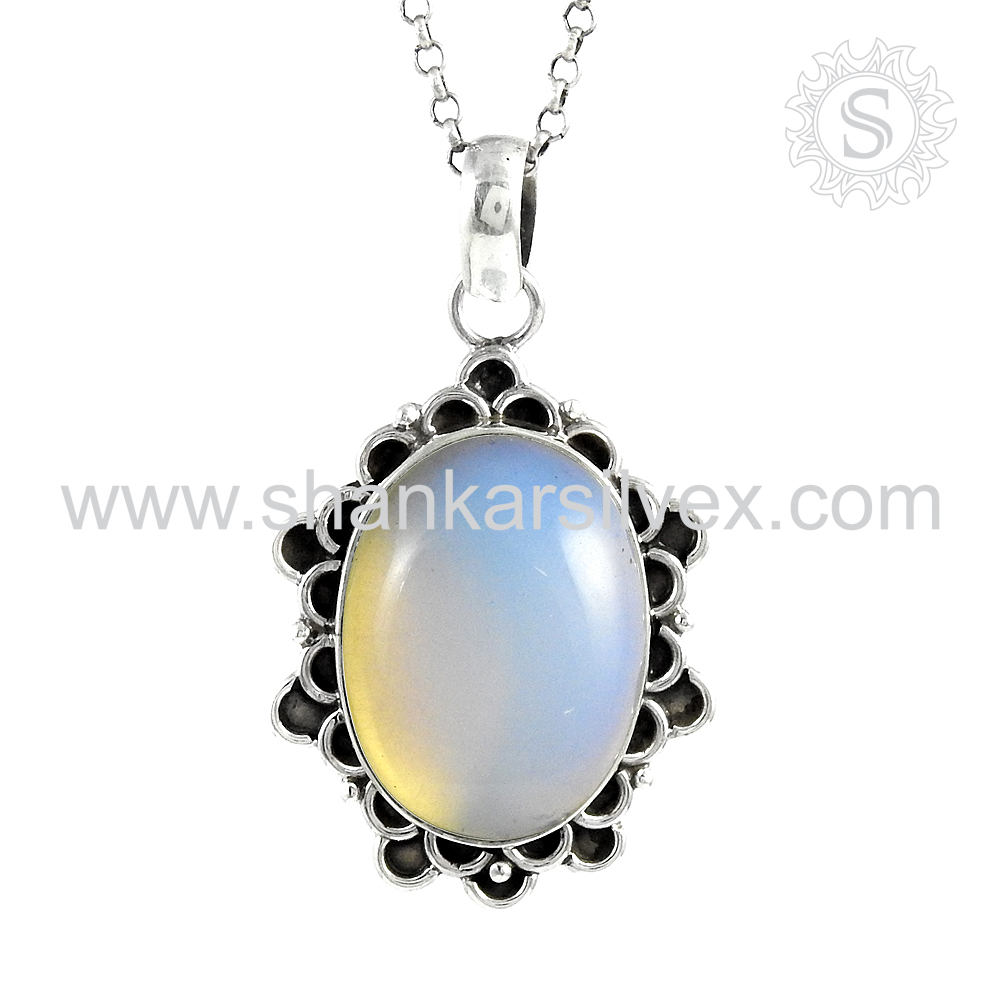 Charming synthetic opal gemstone pendant 925 sterling silver jewelry handmade jaipur wholesaler