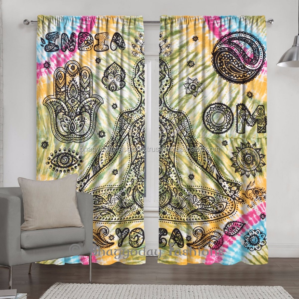 Tie & Dye Blackout Indian Yoga Meditation Door Window Curtain For Room