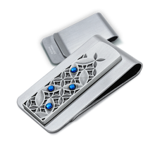 Factory Direct Personalised 3D motif pewter money clip with Swarovski crystals