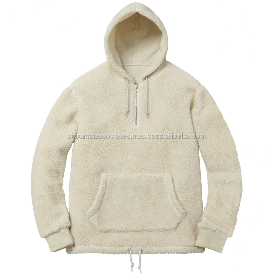 Men Sherpa Fleece Pullover with Hood