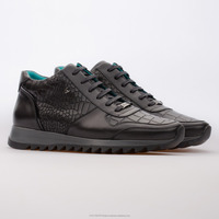 Casual | Sneakers Leather Men Shoes Turkey / Novak - Leather Embossed Mixed Black