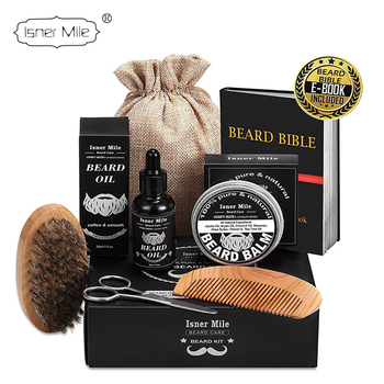 Isner Mile or Customize Private label 6 items organic beard grooming kit with beard comb and brush for beard shaper men